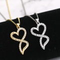 Mother's Day Gold and Silver Chic Mother Son Child Love Heart Pendant Mom Necklace