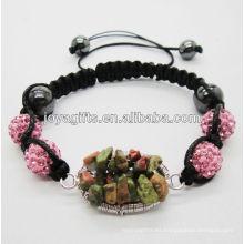 Tejido Unakite chip suerte árbol de piedras preciosas y 10MM Rose bolas de cristal pulsera tejida