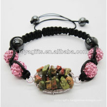 Woven Unakite chip lucky tree gemstone and 10MM Rose Crystal balls woven bracelet