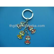 Porte-clés en métal de conception de chien de dessin animé avec un émail doux