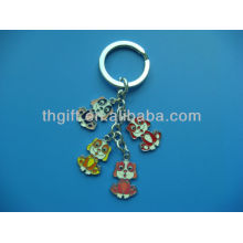 Cartoon dog design metal keychain/keyring with soft enamel