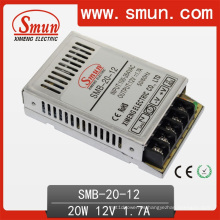 Fuente de alimentación de conmutación de caja de plástico ultra delgada de 20W 12V 1.7A