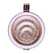 Elegance Rose Gold Locket Memória com Zirconia Branco