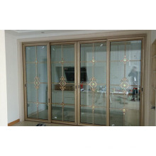 Double Tempered Carved Glass Aluminium Sliding Door for Living Room