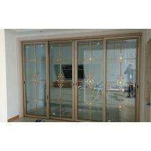 Двойная закаленная резная алюминиевая раздвижная дверь для гостиной