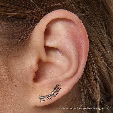 Leichte 925 Sterling Silber Hirsch Ohrringe Antik Silvertone