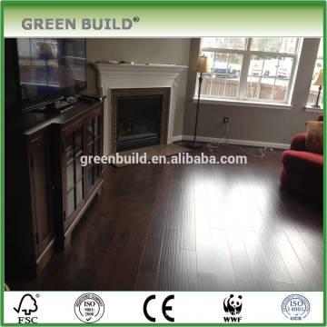 Handscraped walnut color laminate wooden flooring