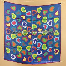 Wrap hangzhou impressão de seda real azul colorido coração cachecol mulheres wrap
