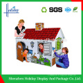 Casa de cartulina acanalada de las ilustraciones de papel para los niños, juguetes de la casa de la cartulina