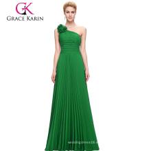 Venta al por mayor Grace Karin mujeres de un hombro largo verde vestido de fiesta de gasa CL3467-3