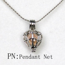 Wholesale Silver Net Shaped Pearl Bead Cage Pendant