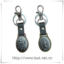 New Style Leather Silver Religious Key Holder (IO-ck104)