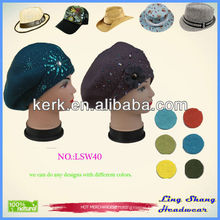 Promotional beautiful design Popular winter Wool Hat special hats for sale ,lsw35