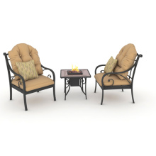 Outdoor Furniture 3pc slat bistro set with cushions and firebox