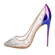 purple mesh upper rhinestone embellishment 12cm stiletto heel dress shoes for women