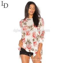 Novo design de moda superdimensionada jacquard camisola de malha para as mulheres