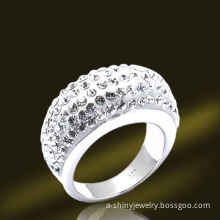 Low MOQ White Gold Crystal Silver Ring (RSL3928)