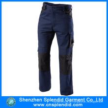 Calças de trabalho por atacado de sarja de tecido azul marinho