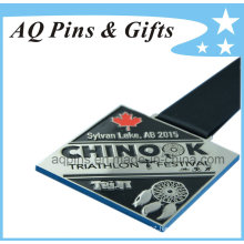 Zinc Medal in Nickel Plating with Black Ribbon