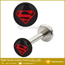 С внутренней резьбой логотип Супермена эпоксидной губ Губная серьга шпилек