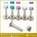 Acier chirurgical à filetage interne Press Fit Opal Lip Piercing Jewelry