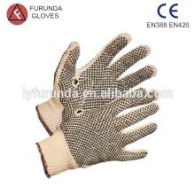 Double coté pvc coton pointu gants chaîne tricot adulte gants
