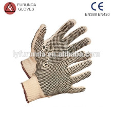 Double side pvc dotted cotton gloves string knit adult gloves