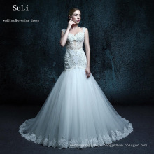 ZXB22 старинные Труба свадебное платье тюль спагетти кнопка кружева бисероплетение этаж длина длинные платья свадебное платье