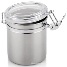 China supplier stainless steel round tea coffee tin canister storage jar