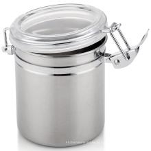 China fornecedor de aço inoxidável rodada chá café lata vasilha armazenamento jar