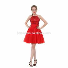 New Design High Quality Cheap With Sequins Halter Evening Dress Red Short