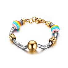 Stainless Steel Snake Chain 12mm Rainbow Beads Charm Gold Bead Bracelet