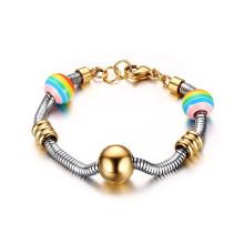 Corrente de cobra de aço inoxidável 12mm contas de arco-íris charme pulseira de cordão de ouro