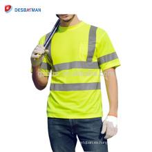 Venta al por mayor China Road Bike Safety T-shirts Neon Yellow Cycling Chaquetas para hombre Respirable Workwear reflexivo bolsillos Clase 2