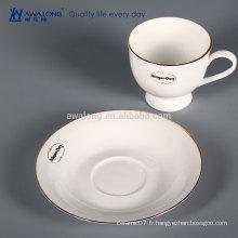 Bonne vente de tasse de café réutilisable fine en ossée en Chine, coupe de café et jeu de soucoupe