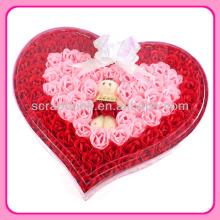 Melhor presente decorativo rosa flor artificial de sabão em forma de flores