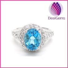 High quality fahsion 925 sterling silver blue topaz ring with CZ setting