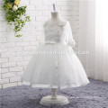 2017 new fashion lace flower girl dress white color long sleeve in stock girls wedding dress for baby girls