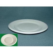 "7 ""Bagasse Platte (Zuckerrohr Platte) Lebensmittel Placa Chapa Papier Zellstoff Biologisch abbaubare Platte, Party Kuchen Dessert Platte"