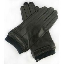 China Lieferant 2016 Herrenmode Ziegenhaut schwarz dünne Lederhandschuhe mit elastischer Manschette