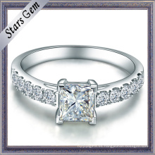 Cuadrado Princesa Cubic Zirconia Sterling Silver Fashion Jewelry