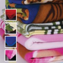 100% Polyester-Ebene färbte super weiche Polarfleece-Picknick-Decke