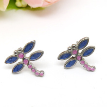 Guangzhou Wholesale Custom Alloy Enamel Dragonfly Stud Earring Jewelry