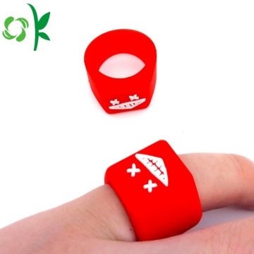 Freak Embossed Logo Smile Silicone Red Rings