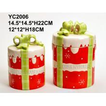 Hand-Painted Christmas Round Cookie Jar