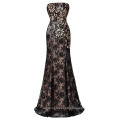 Starzz Strapless Black Sequined Lace Free Shipping Prom Dress ST000008-1