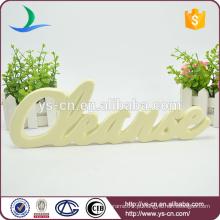 Placa de placa de cerâmica de forma de letra para decoração