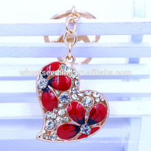 2015 latest design gifts&crafts high quality custom red heart keychain