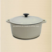 5qt White Cast Iron Casserole