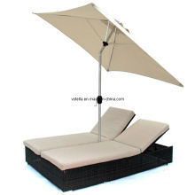 Dual Chaise Double Lounge Chair Furniture with Umbrella